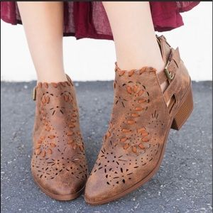 Shoes - Cut out faux leather distressed boots bootie